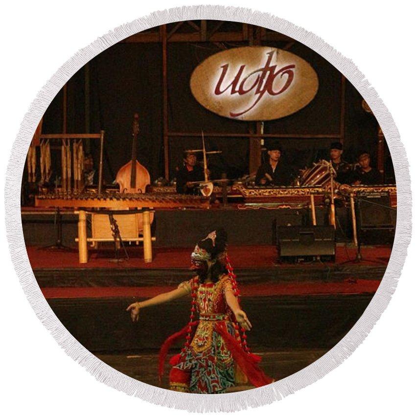 Dance Round Beach Towel featuring the photograph Mask Dance by Lingga Tiara Setiadi