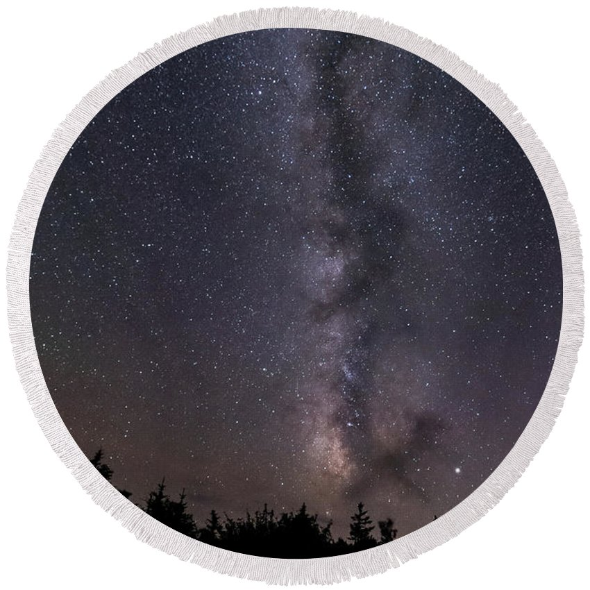 Round Beach Towel featuring the photograph Milkyway over Acadia by ChelleAnne Paradis