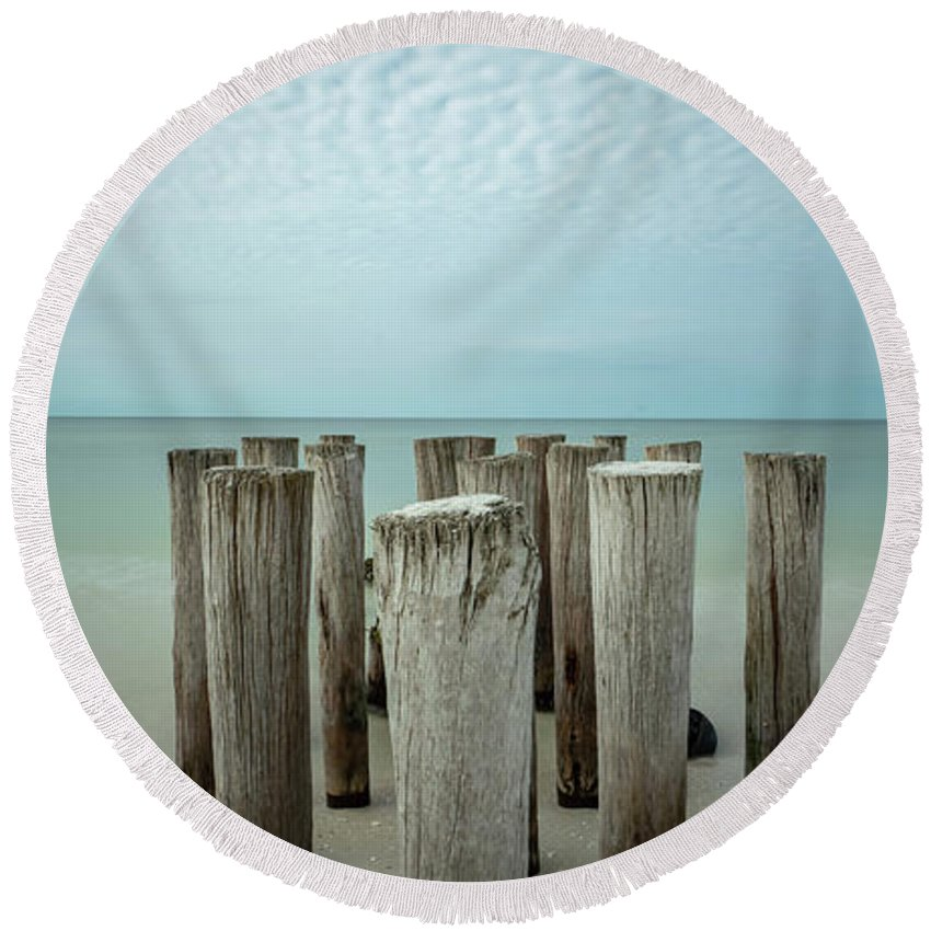 Naples Florida 2021 Round Beach Towel featuring the photograph Naples Pilings 2021 by Joey Waves