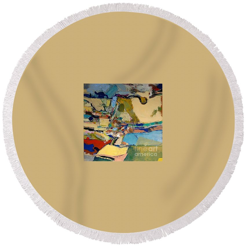 Landscape Round Beach Towel featuring the painting Pastime Drive by Allan P Friedlander