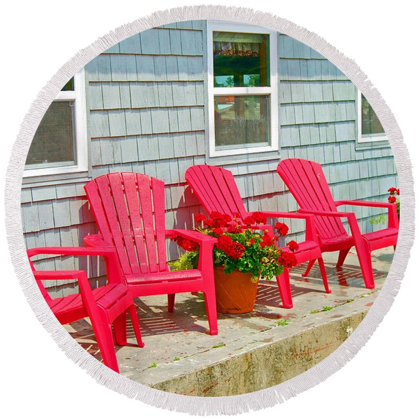 Red Round Beach Towel featuring the photograph Red Chairs by Debbi Granruth