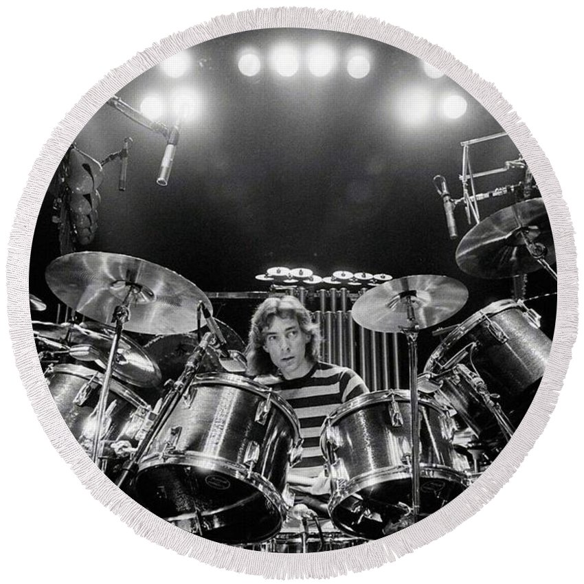 Rush Round Beach Towel featuring the digital art Rush Neil Peart Poster by Trindira A