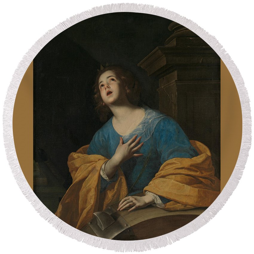 17th Century Painters Round Beach Towel featuring the painting Saint Catherine Of Alexandria by Workshop of Bernardo Cavallino
