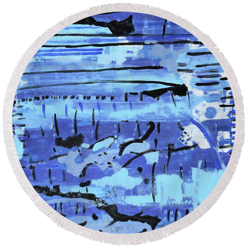 Colorado Round Beach Towel featuring the painting Something Blue by Pam Roth O'Mara