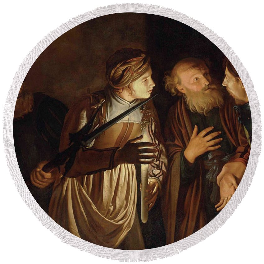 Coster Round Beach Towel featuring the painting The Denial of Saint Peter by Adam de Coster