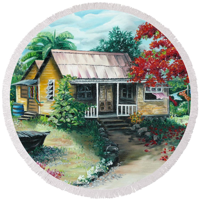 Landscape Painting Caribbean Painting Tropical Painting Island House Painting Poinciana Flamboyant Tree Painting Trinidad And Tobago Painting Round Beach Towel featuring the painting Trinidad Life by Karin Dawn Kelshall- Best