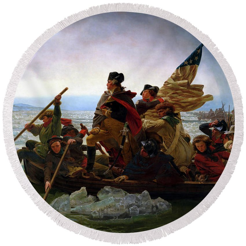 George Washington Round Beach Towel featuring the painting Washington Crossing the Delaware by Emanuel Leutze