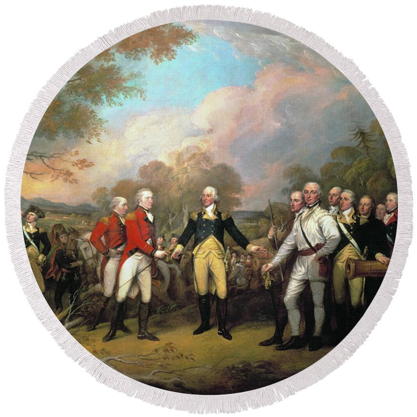 1777 Round Beach Towel featuring the photograph Saratoga - Surrender, 1777 by Granger