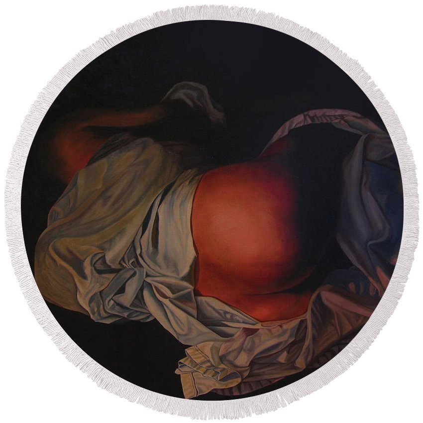 Sexual Round Beach Towel featuring the painting 12 30 A M by Thu Nguyen