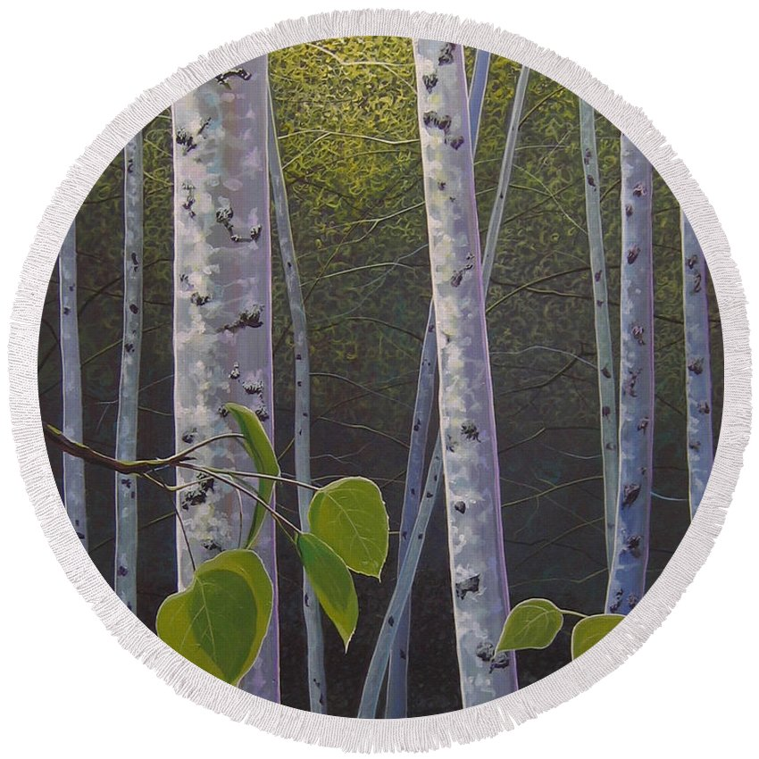 Aspen Round Beach Towel featuring the painting Light in the Forest by Hunter Jay