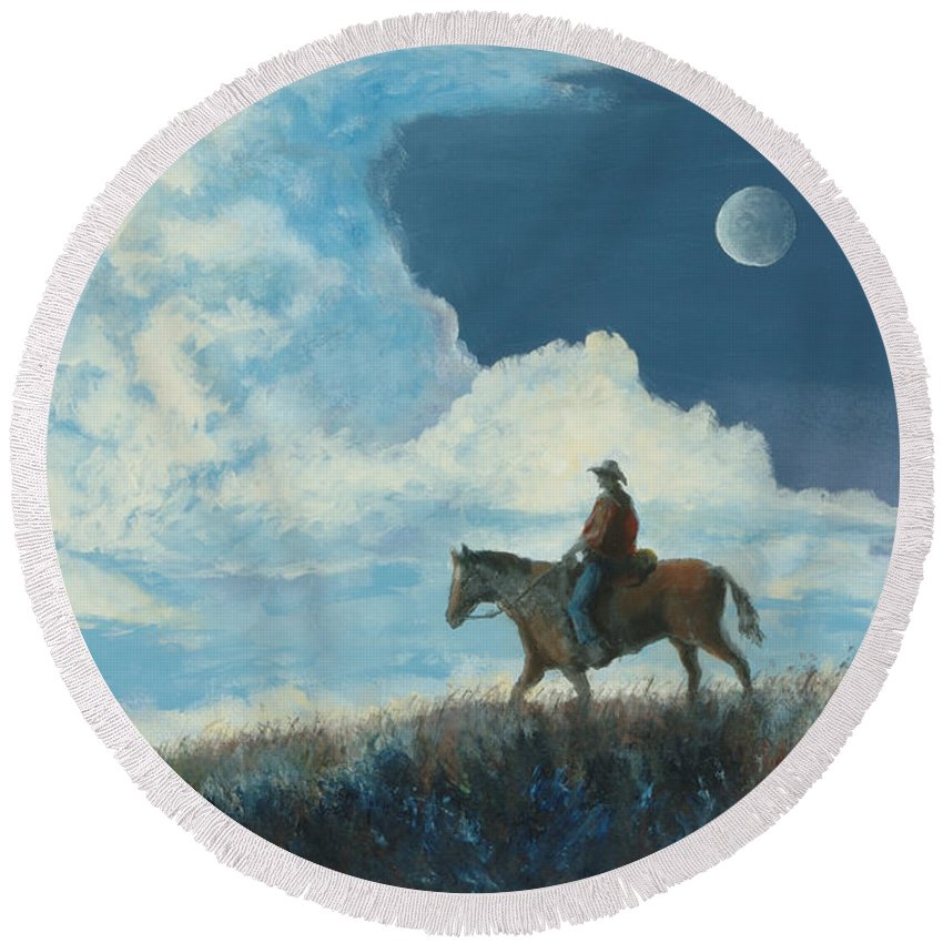 Cowboy Round Beach Towel featuring the painting Rider Against the Sky by Jerry McElroy