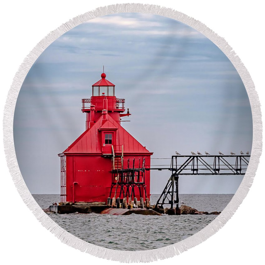 Lighthouse Round Beach Towel featuring the photograph 20-0607-0037 by Anthony Roma