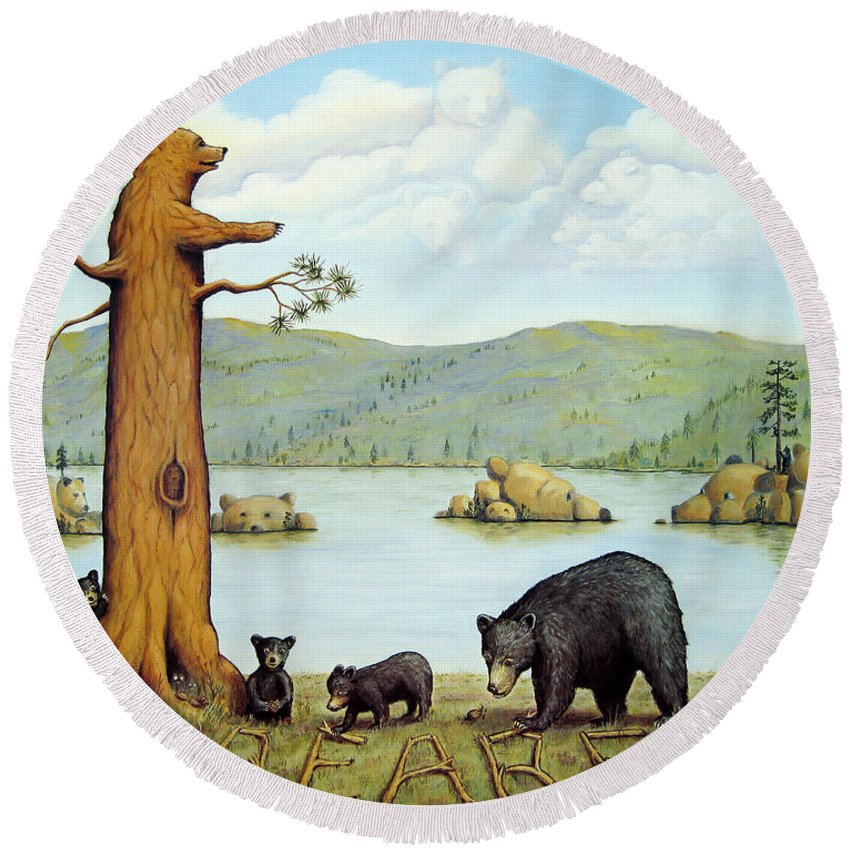 Bears Round Beach Towel featuring the painting 27 Bears by Jerome Stumphauzer