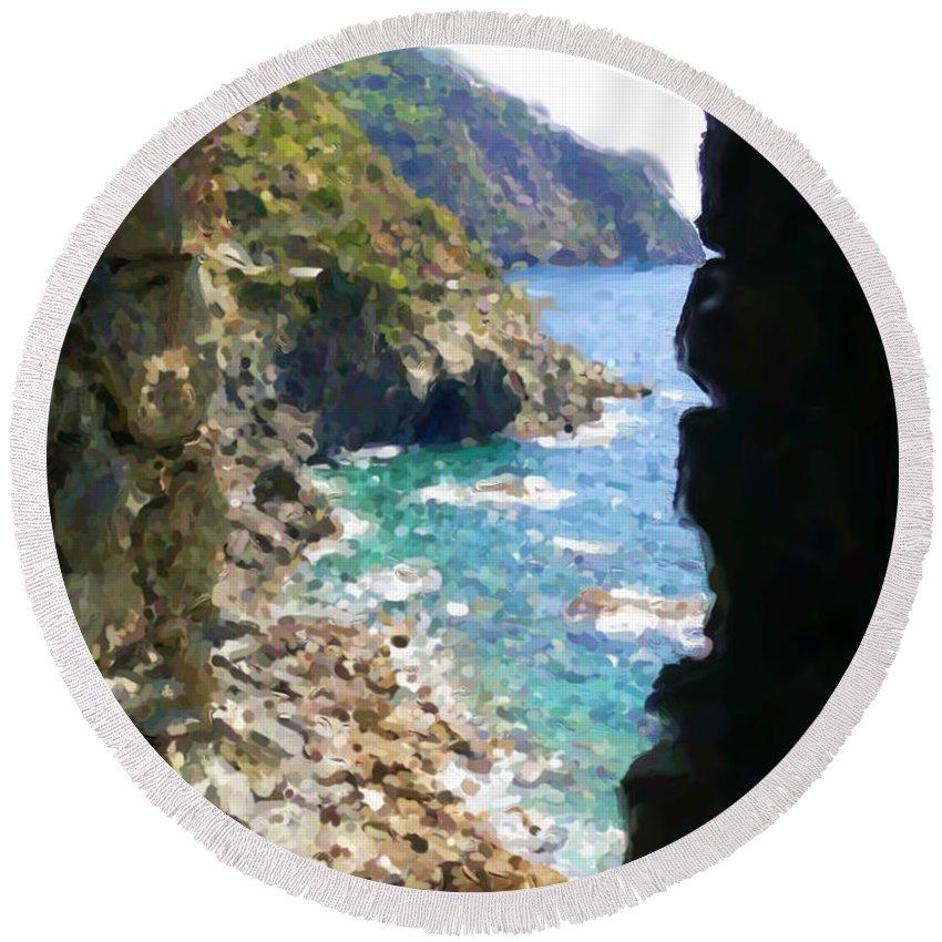 Cinque Terre Round Beach Towel featuring the mixed media Cinque Terre by Asbjorn Lonvig