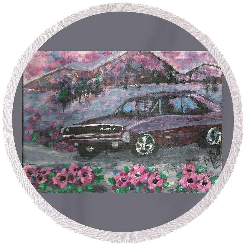 68 Dodge Charger Round Beach Towel featuring the painting 68 Dodge Charger by Monica Resinger