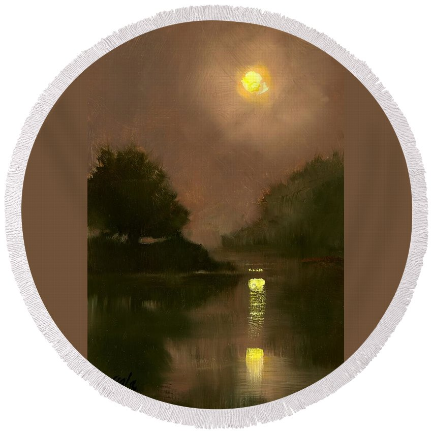 Miniatures Round Beach Towel featuring the painting A Clear Evening by Jim Gola