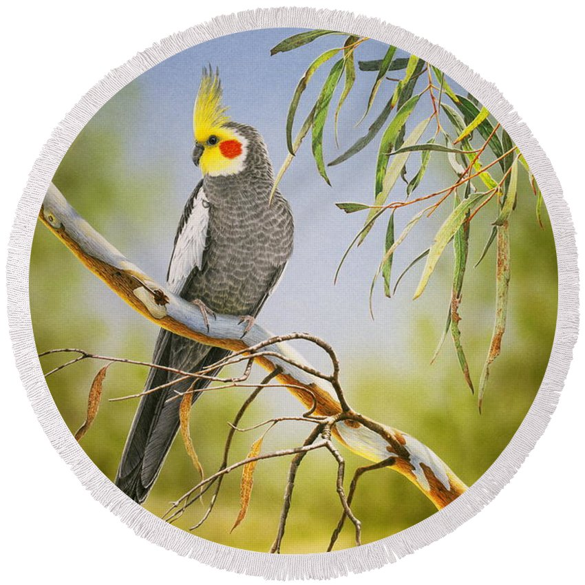 Bird Round Beach Towel featuring the painting A Friendly Face - Cockatiel by Frances McMahon