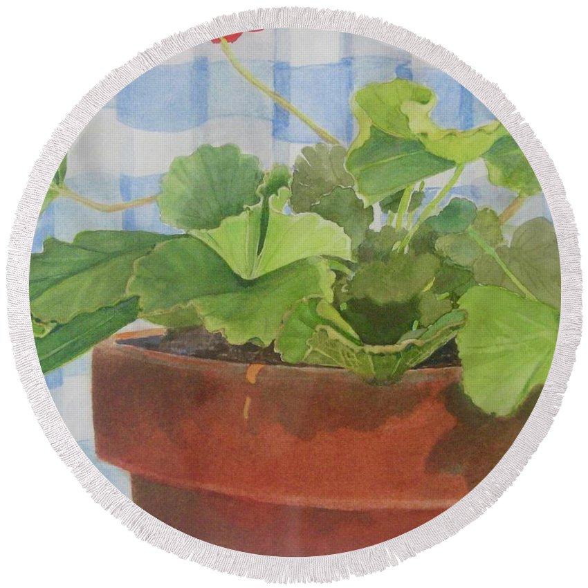 Flowers Round Beach Towel featuring the painting A Geranium is a Geranium is a Geranium...... by Mary Ellen Mueller Legault