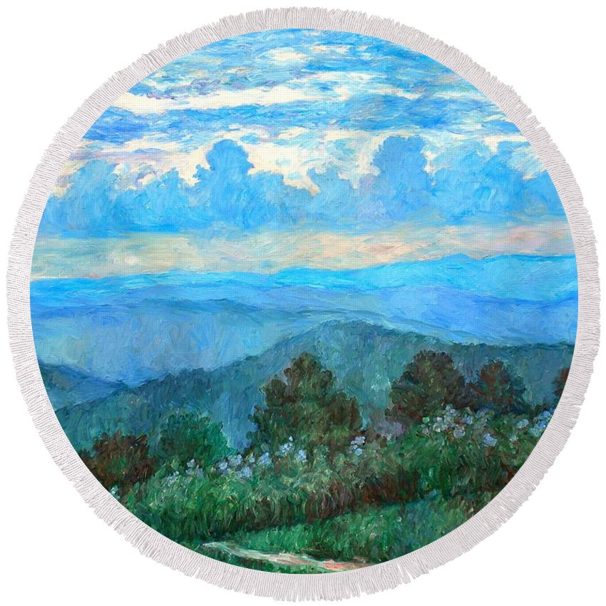 Landscape Round Beach Towel featuring the painting A Path to Rock Castle Gorge in the Evening by Kendall Kessler