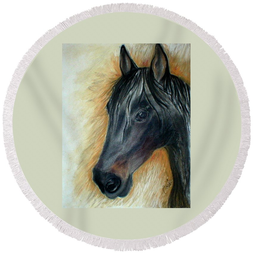 Horse Round Beach Towel featuring the drawing A Stable Friend by Cori Solomon