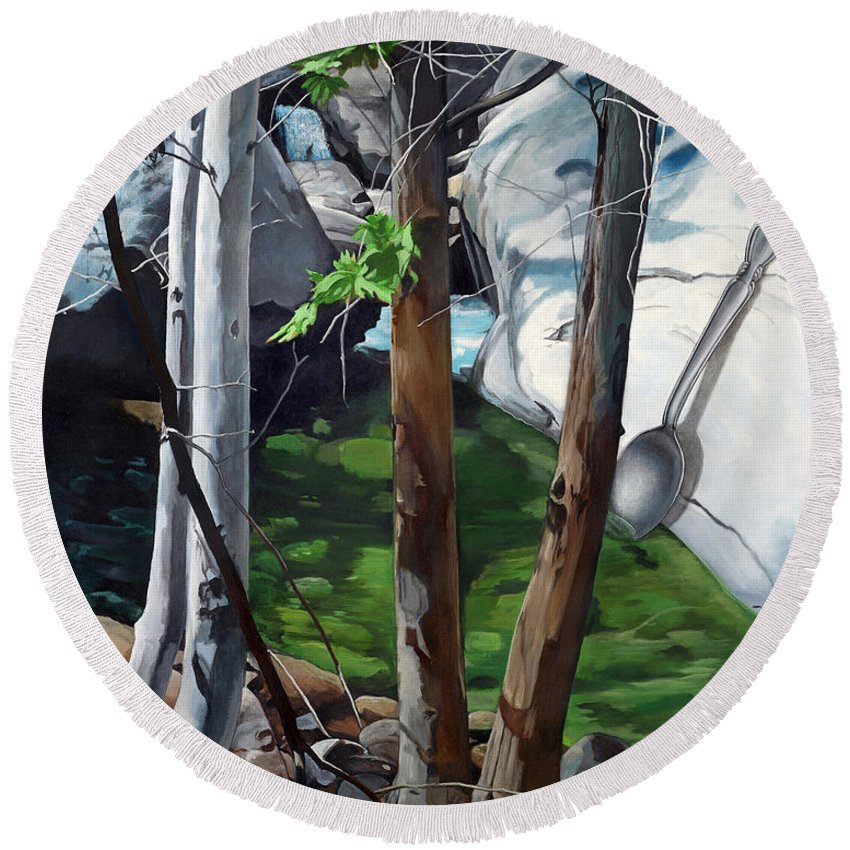 Landscape Round Beach Towel featuring the painting A Taste of Nature by Snake Jagger