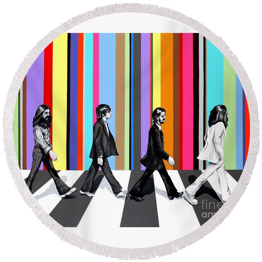 The Beatles Round Beach Towel featuring the painting Abbey Road Technicolor by Amy Belonio