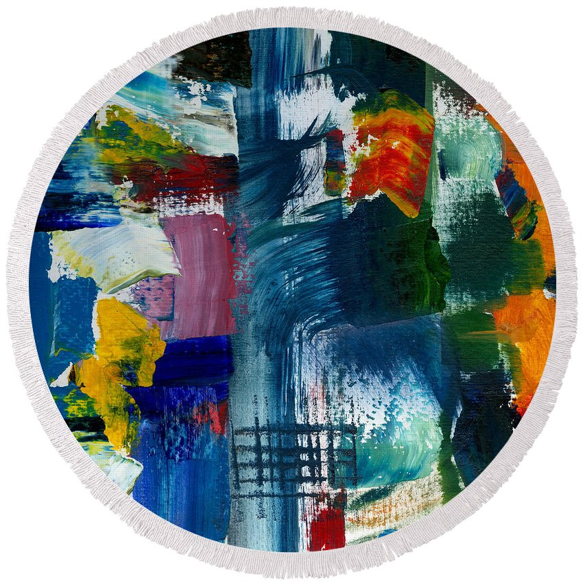 Abstract Collage Round Beach Towel featuring the painting Abstract Color Relationships l by Michelle Calkins