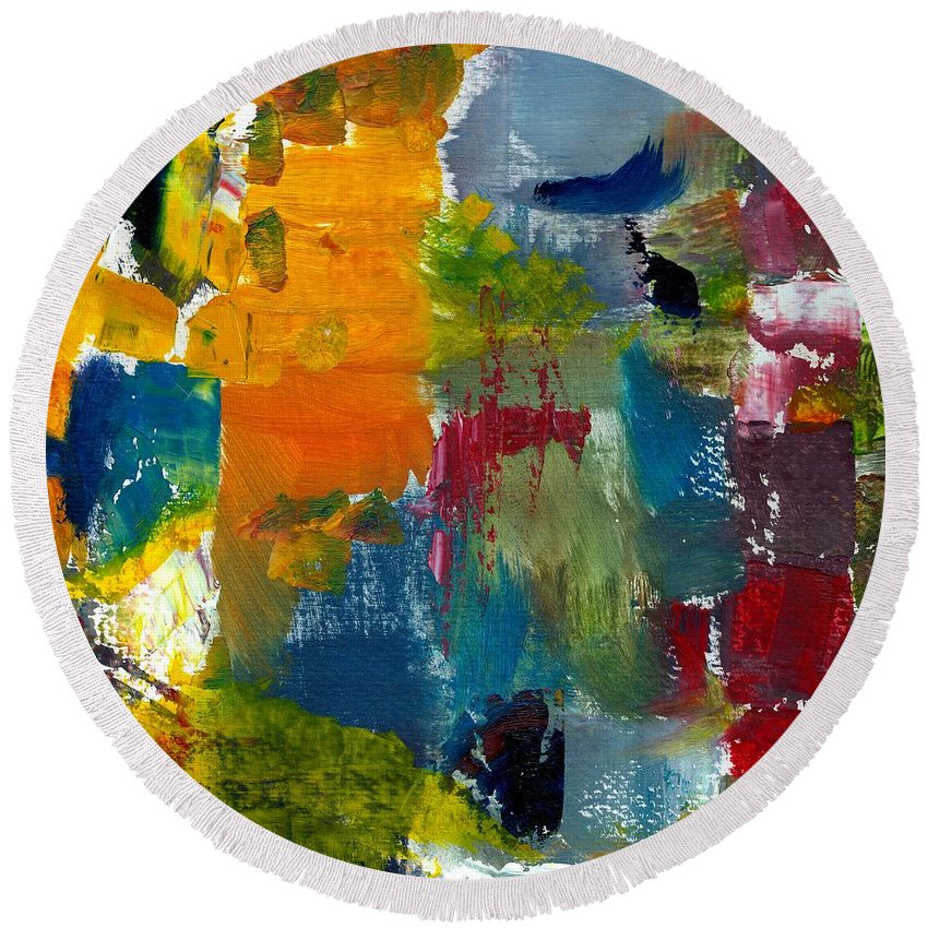Abstract Collage Round Beach Towel featuring the painting Abstract Color Relationships ll by Michelle Calkins