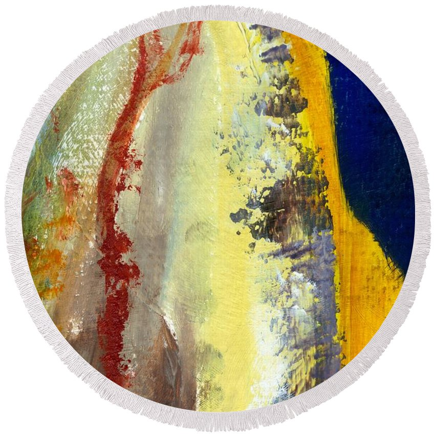 Rustic Round Beach Towel featuring the painting Abstract Color Study ll by Michelle Calkins