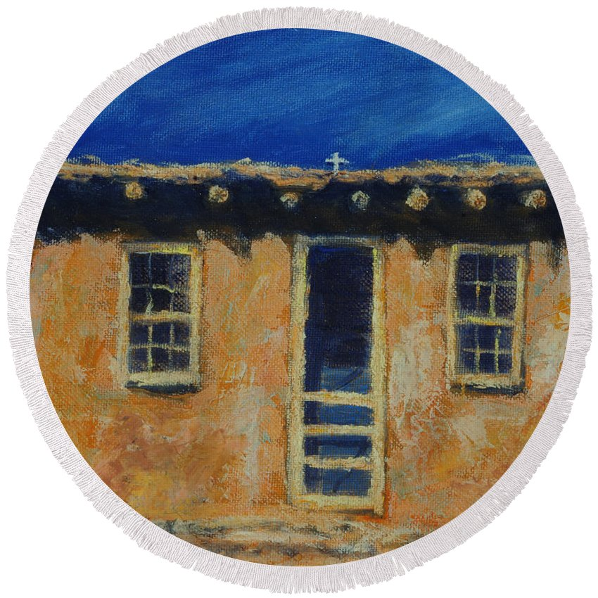 Acoma Round Beach Towel featuring the painting Acoma by Jerry McElroy