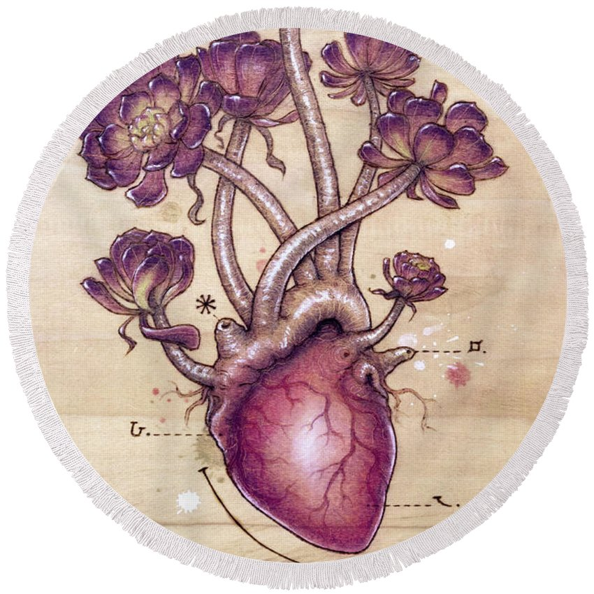Pyrography Round Beach Towel featuring the pyrography Aeonium Heart by Fay Helfer