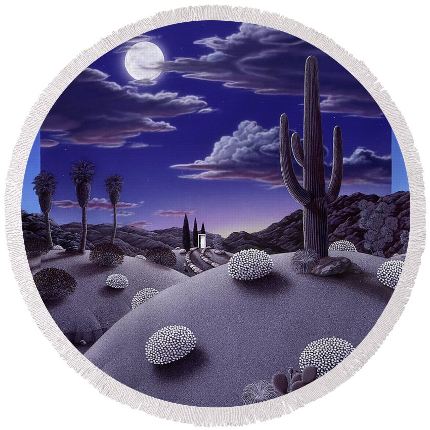 Desert Round Beach Towel featuring the painting After the Rain by Snake Jagger