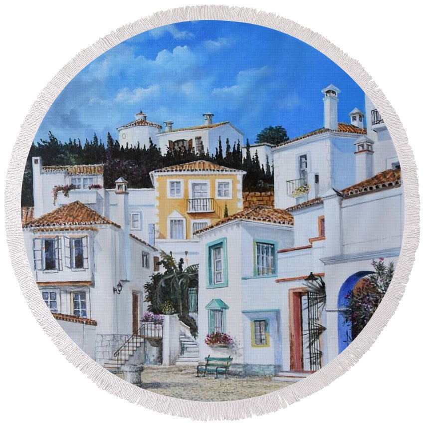 City Round Beach Towel featuring the painting Afternoon Light In Montenegro by Sinisa Saratlic