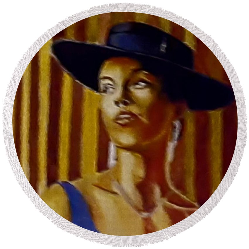Portrait Round Beach Towel featuring the painting Alica by Andrew Johnson