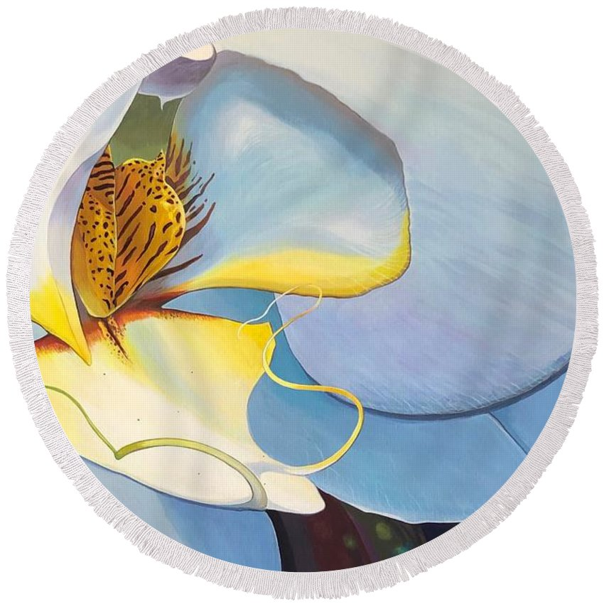 Orchid Round Beach Towel featuring the painting All You Need is Now by Hunter Jay