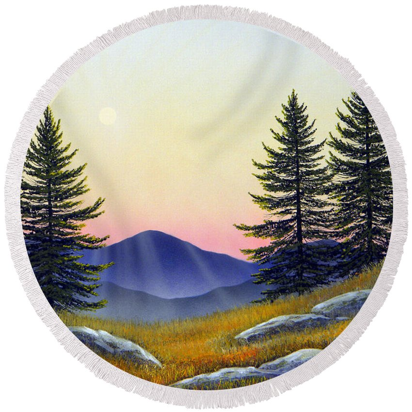 Landscape Round Beach Towel featuring the painting Alpine Meadow by Frank Wilson