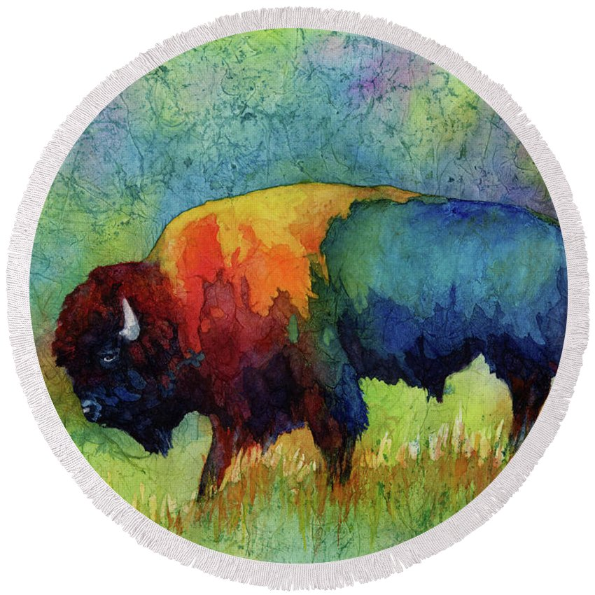 Bison Round Beach Towel featuring the painting American Buffalo III by Hailey E Herrera