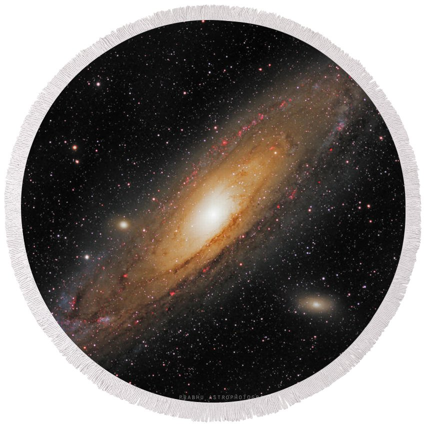Andromeda Galaxy Round Beach Towel featuring the photograph Andromeda Galaxy by Prabhu Astrophotography