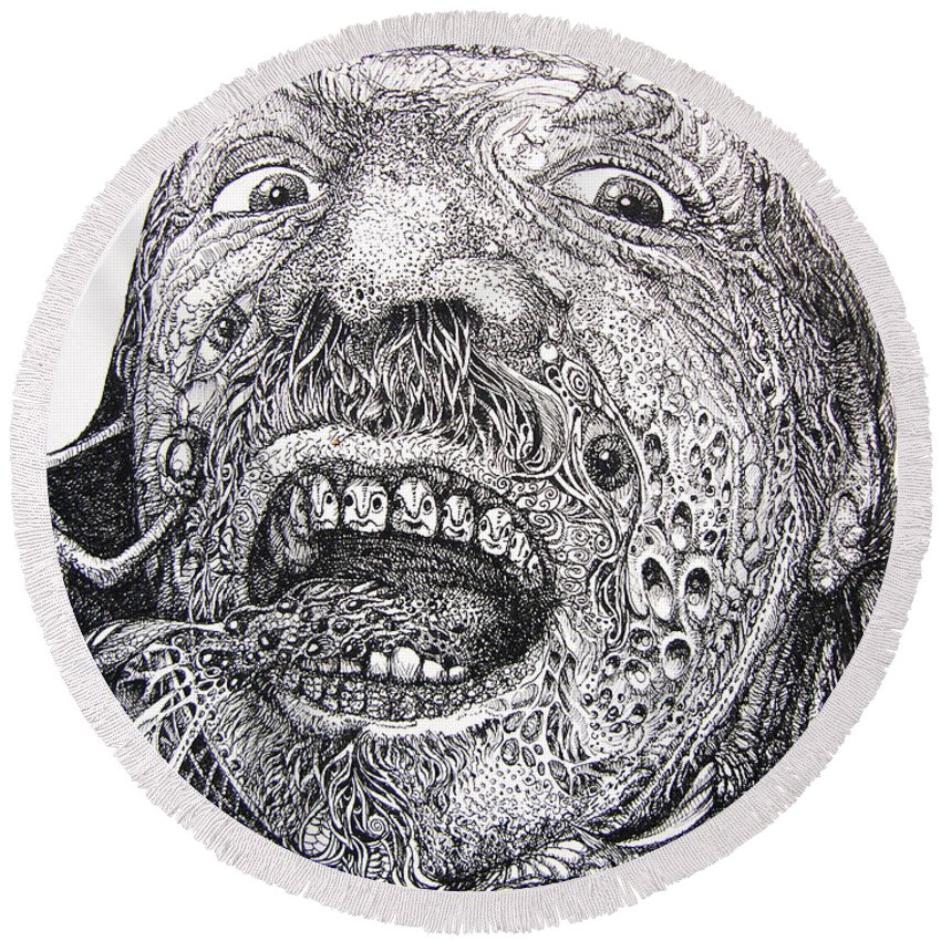 Surrealist Round Beach Towel featuring the drawing Antipods Screamer by Otto Rapp