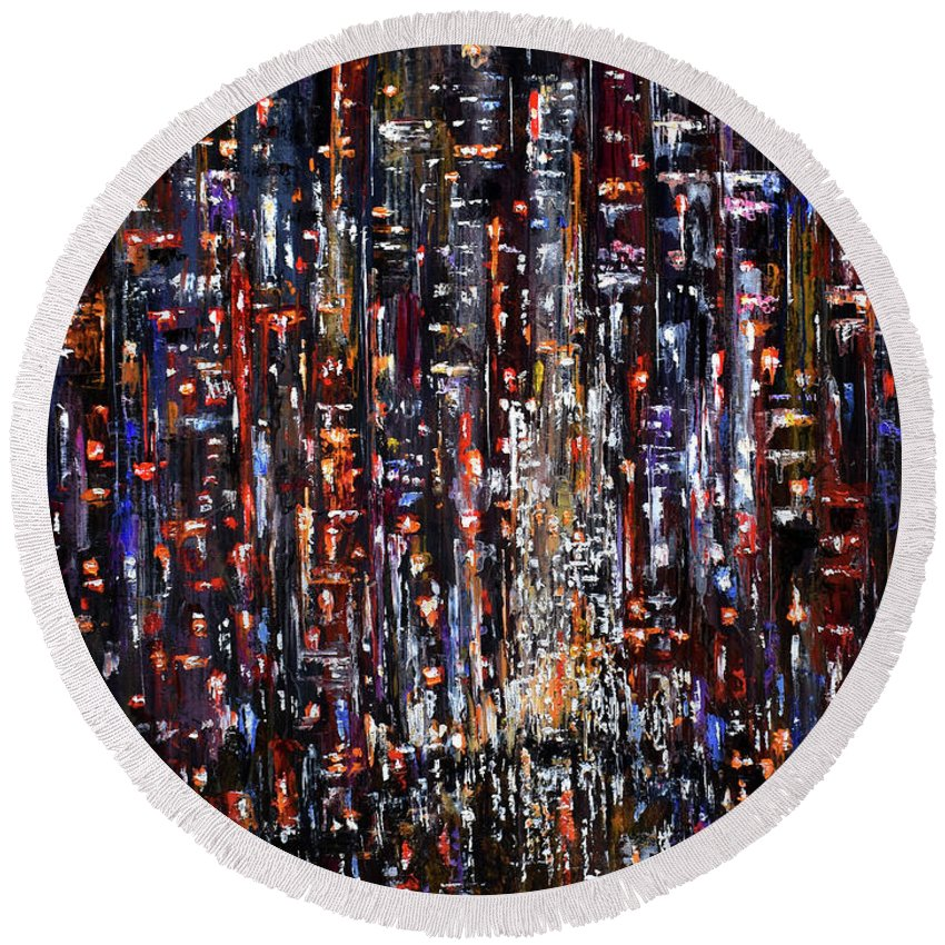 Nyc Round Beach Towel featuring the painting Apple at night by Debra Hurd