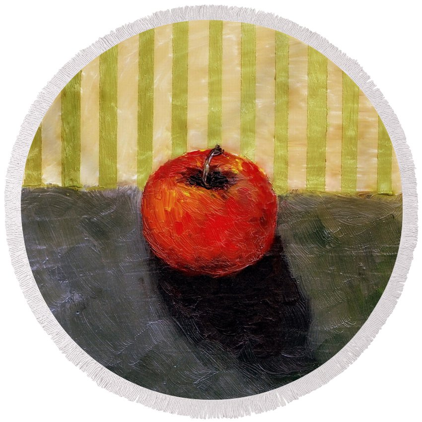 Apple Round Beach Towel featuring the painting Apple Still Life with Grey and Olive by Michelle Calkins