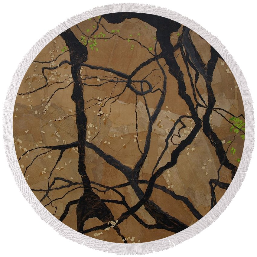 Abstract Tree Branches Round Beach Towel featuring the painting Arboretum Dancers by Leah Tomaino