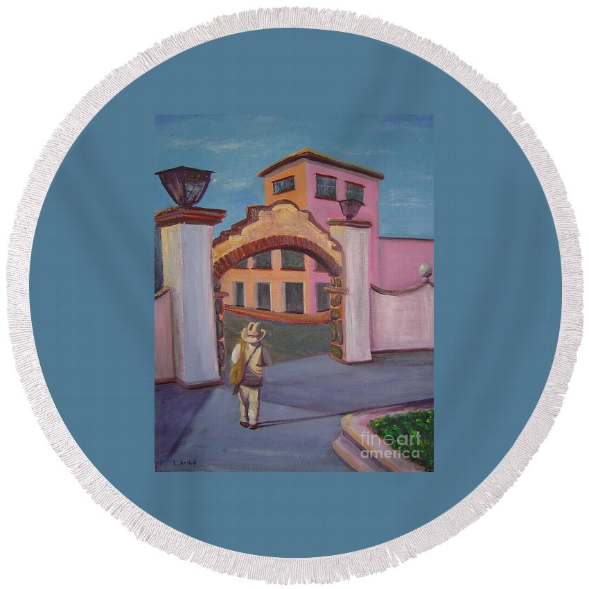 Mexico Round Beach Towel featuring the painting Arco de Jiutepec by Lilibeth Andre