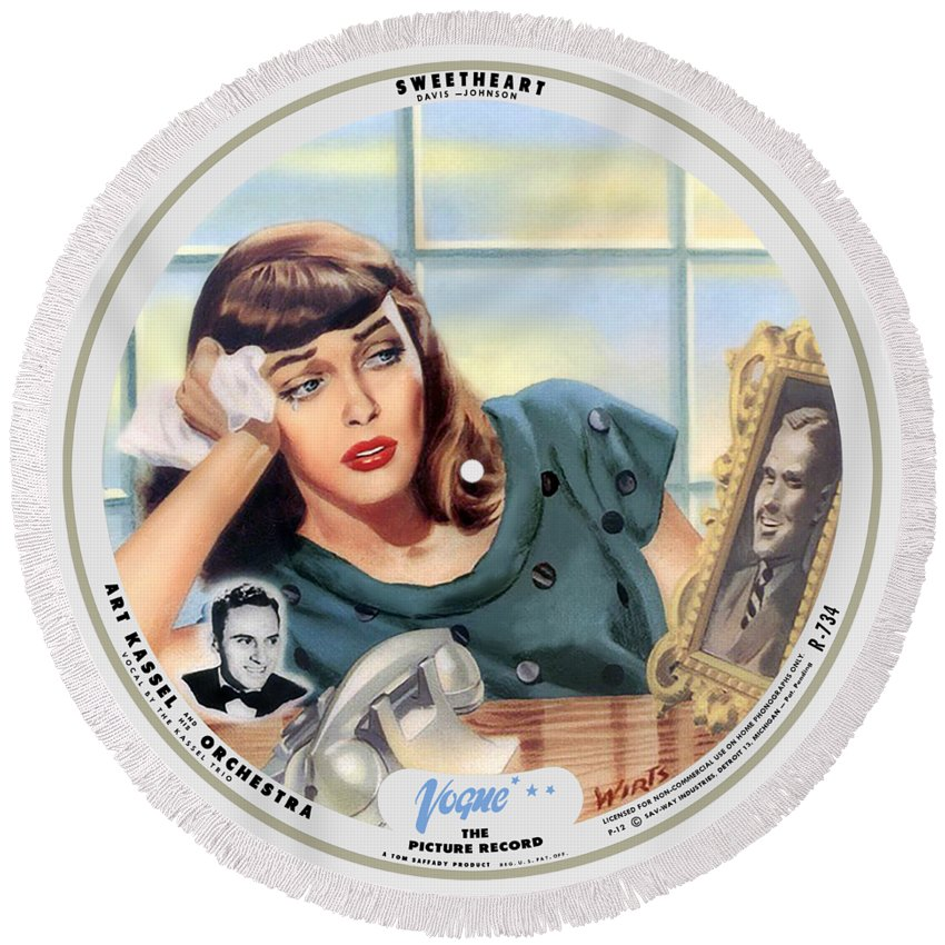 Vogue Picture Record Round Beach Towel featuring the digital art Vogue Record Art - R 734 - P 12 by John Robert Beck