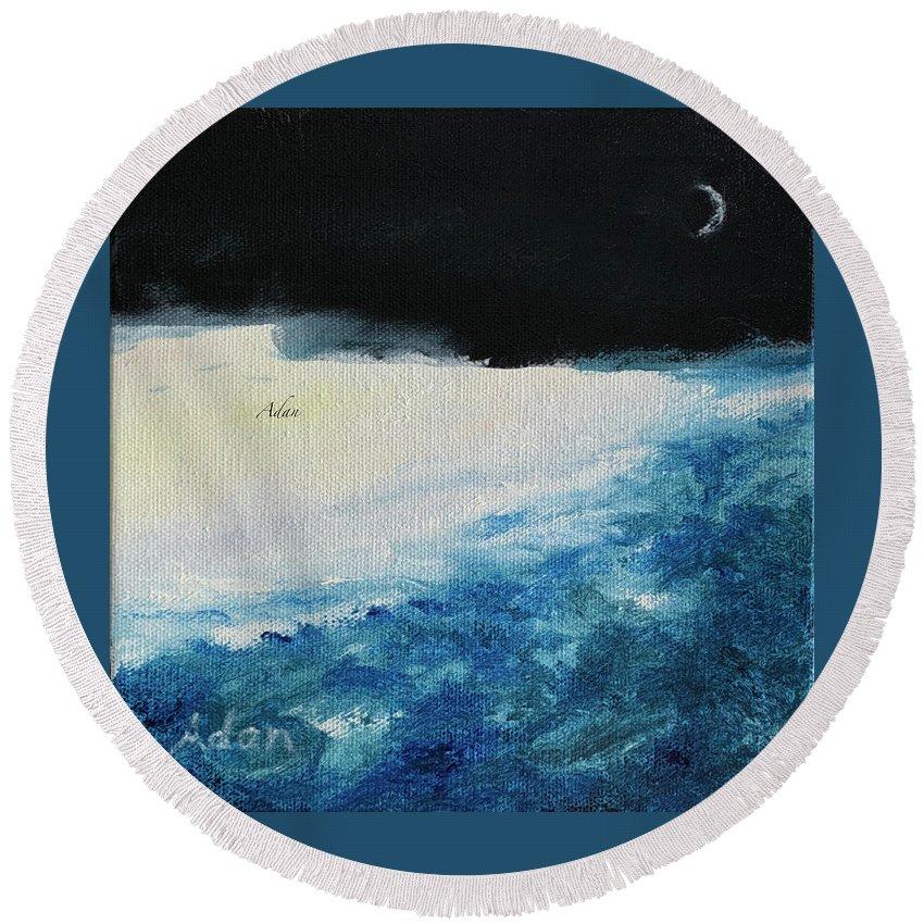 Paintings By Felipe Adan Lerma Round Beach Towel featuring the painting Moon At The Edge, Circa 2019 by Felipe Adan Lerma