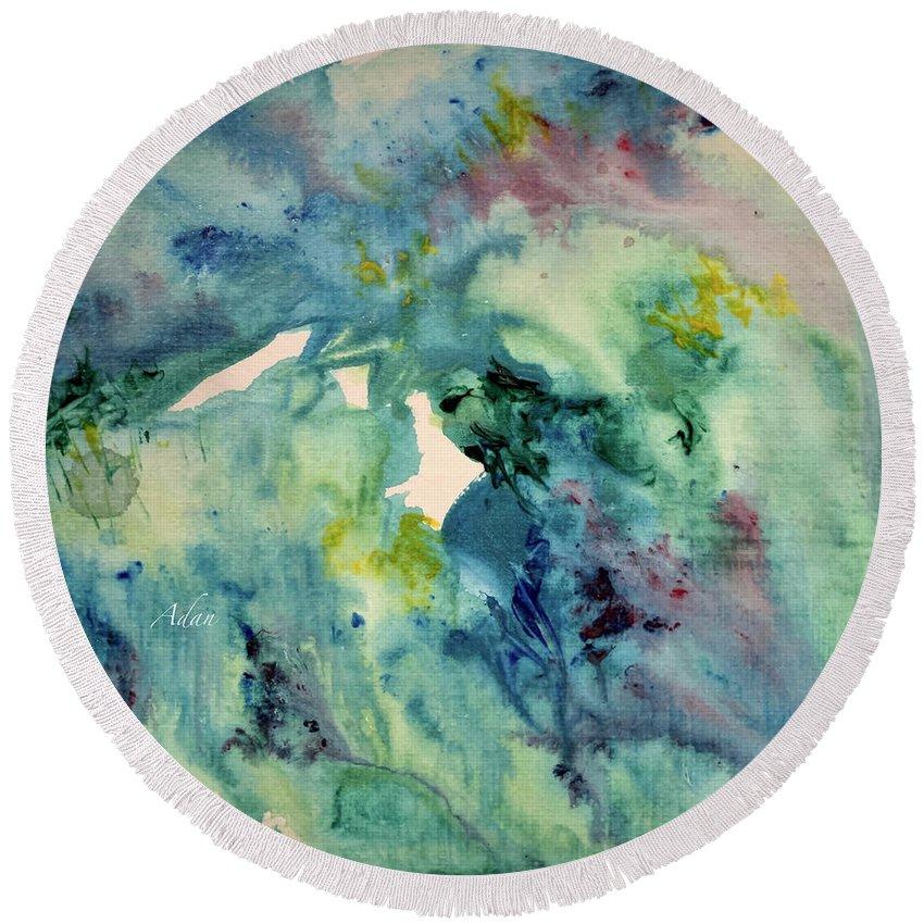 Paintings By Felipe Adan Lerma Round Beach Towel featuring the painting Ridges Of Spring Light 6x6 Acrylic Watercolor #2 by Felipe Adan Lerma