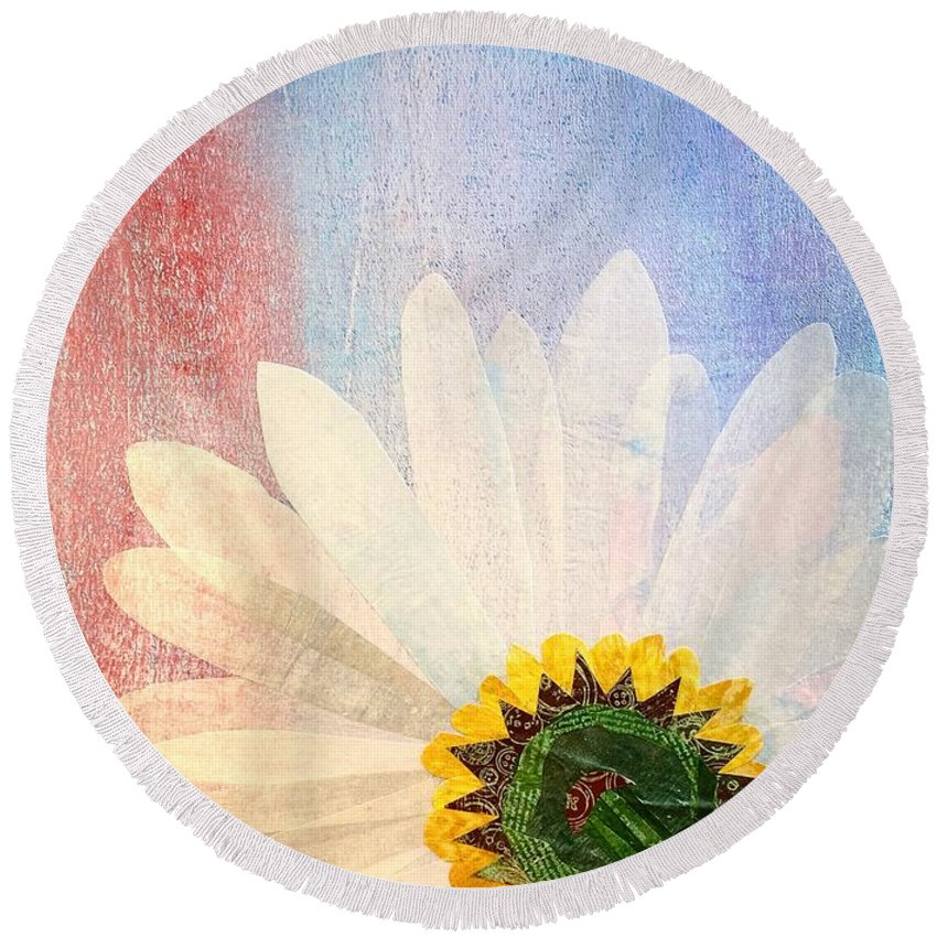 Flower Round Beach Towel featuring the mixed media New Perspective by Forrest Fortier
