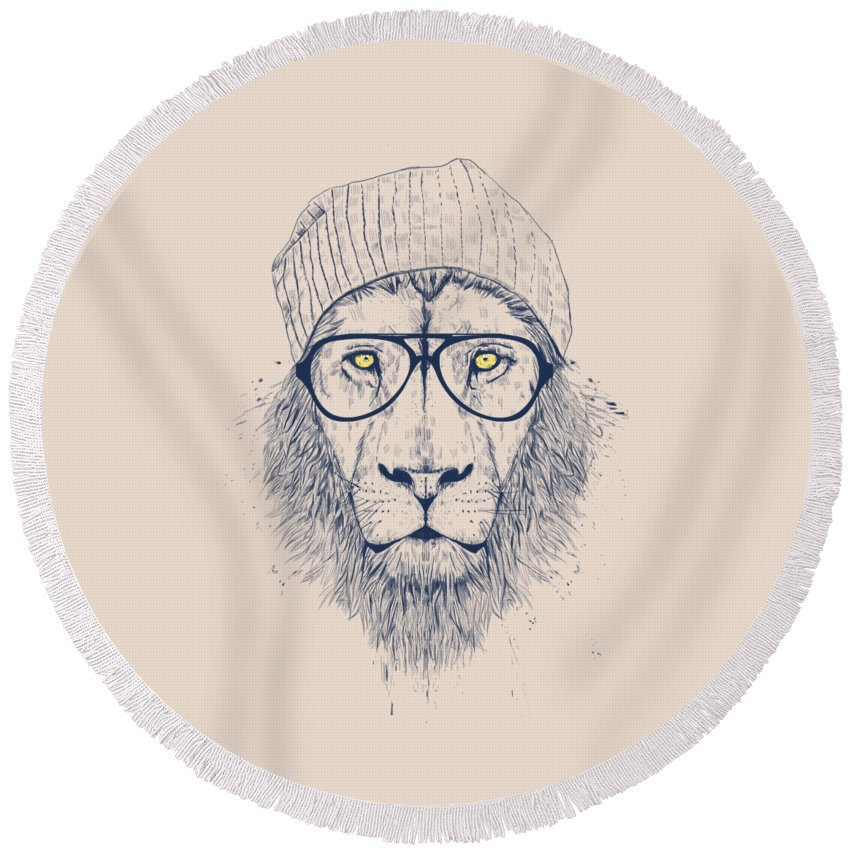 Lion Round Beach Towel featuring the drawing Cool lion by Balazs Solti