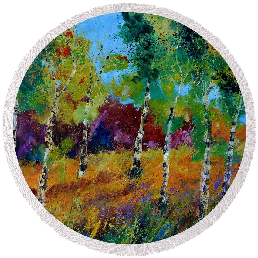 Landscape Round Beach Towel featuring the painting Aspen trees in autumn by Pol Ledent
