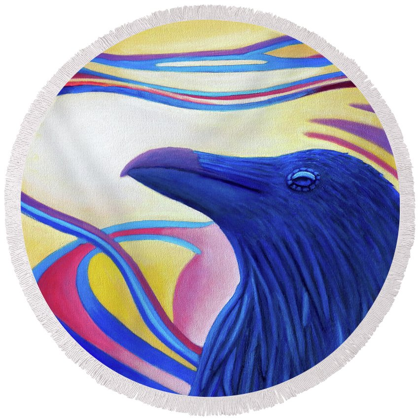 Raven Round Beach Towel featuring the painting Astral Raven by Brian Commerford